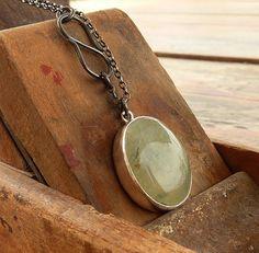 Prehnite necklace Precious Oval Prehnite with Epidote by anakim