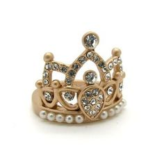 Crown Ring with Pearl Detailing.