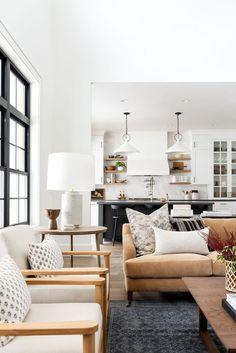 Warm & Textile Filled Great Room - Studio McGee - Shop Lucille English Roll Arm Sofa, Beckett Chair, Darina Table Lamp, Dorothy Pillow Cover, Flint P - Home Living Room, Interior, English Roll Arm Sofa, Home Decor, House Interior, Living Decor, Home And Living, Great Rooms, Living Room Designs