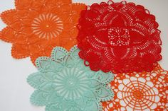 Let's get in our time machines and go back to June 9, 2010. I posted this. I'd taken some ratty old thrift store doilies (I've recently spotted doilies at Dollar Tree and JoAnn's, if thrift stores...