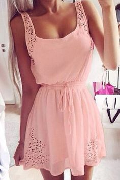 Hollow Out A-Line Sundress PINK: Dresses 2015 | ZAFUL