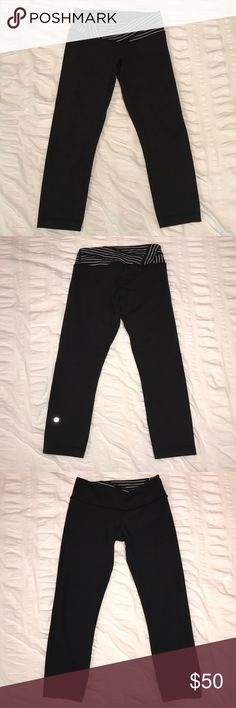 Cropped Lululemon Leggings **reversible** Cropped Lululemon leggings - reversible (one side is plain black, other side is black w/ black and white waistband). Women's size 4. Very good condition - very gently used!! lululemon athletica Pants Leggings