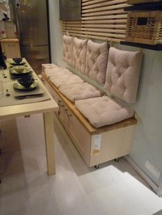 a solution for a small eat-in kitchen.all from Ikea stuff. House Interior, Dining Room Bench, Dining Room Design, Bench Seating Kitchen, House Design Kitchen, Dining Room Small, Home Decor, Cozy Decor, Furniture