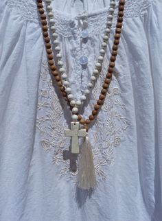 beaded necklace rosary bead necklace bohemian por beachcombershop
