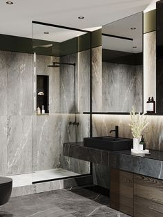 Moscow Ap - Moscow Ap Moscow Apartment bathroom using shades of grey and good lighting to create a sleek cohesive and modern look. Apartment Bathroom Design, Washroom Design, Bathroom Design Luxury, Modern Bathroom Design, Modern Interior Design, Bad Inspiration, Bathroom Inspiration, Toilette Design, Dark Living Rooms
