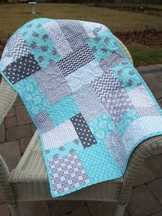 Aqua and gray quilted baby blanket - elephants…