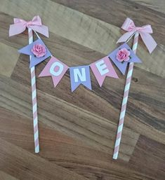 First birthday cake topper, Floral topper, First Birthday cake bunting, Pastel Cake topper, Flower and bows Cake topper First Birthday Cake Topper, Happy Birthday Cakes, First Birthday Parties, First Birthdays, Birthday Bunting, Cake Bunting, Cake Banner, Diy Cake Topper, Cupcake Toppers