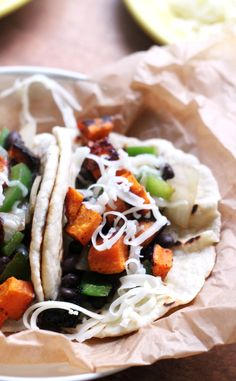 Ancho Honey Roasted Sweet Potato and Black Bean Tacos | Joanne Eats Well With Others