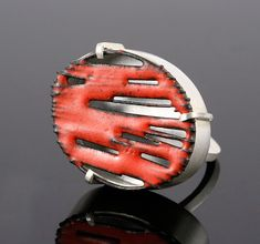 Ring by Stacey Bentley  Silver, Iron & Red Enamel Color, melting away, contract with color.