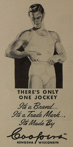 1940s Jockey Briefs Men's Underwear Vintage Advertisement Illustration Y Front 3, via Flickr.