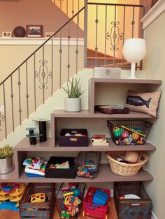 images toys shelves under stairs - Google Search