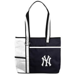 MLB New York Yankees Carry All Tote by Charm14. $19.99. Show your support for your team with this officially licensed large carryall tote. This handbag is made of microfiber material and is made in the two-tone team colors. Look at all the storage room this tote has. Right over the team logo, there is a pull open pouch that can hold your iPad! The top of the tote has a zippered compartment to hold all of your essentials. You can stuff this licensed handbag with your cell p...