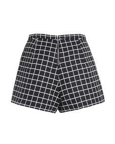 Black High Waist Shorts In Check Print SH0160042