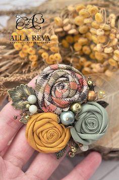 """Купить Брошь """"Теплая осень"""" - комбинированный, брошь, брошь цветок, цветы из ткани, текстиль"""