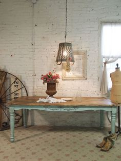 HERE IS ANOTHER IDEA....  Kitchen Table - color, stained top, appliques - Painted Cottage Chic Shabby Aqua and Barnwood Farm Table TBL08. $595.00, via Etsy.