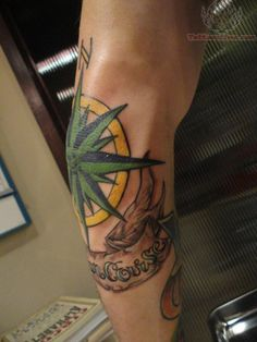 Large Compass Tattoo On Elbow