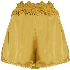Kori Olive Fringe Waist Satin Shorts ❤ liked on Polyvore featuring shorts, short shorts, fringe shorts, olive green shorts, green camo shorts and kori