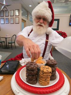 Santa indulges in his favorite food...cookies...after his blood donation. #giveblood