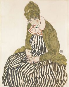 Egon Schiele - Edith with Striped Dress, Sitting - Google Art Project.jpg