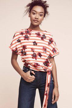 Slide View: 1: Striped Floral Sweatshirt