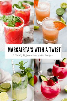 5 Totally Different Margaritas To Try For Cinco De Mayo - Mix up the classic marg with one of these fun recipes Alcoholic Cocktails, Easy Cocktails, Summer Cocktails, Cocktail Recipes, Cocktail Parties, Pina Colada, Margarita Recipes, Smoothie Recipes, Smoothies