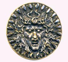 XL Rare Deluxe Antique Button..Snake Hair Medusa..Cut Steel Border, Eyes, Tongue