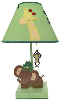 decorative lampshades | Jungle Babies Lamp and Shade - Kids Decorating Ideas