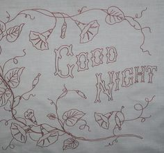redwork good night pillow