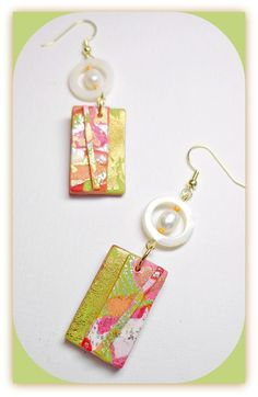 Tropical Pearl Dangle Earrings, polymer clay jewelry available via Etsy.
