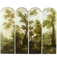 Bonhams Fine Art Auctioneers & Valuers: auctioneers of art, pictures, collectables and motor cars Diy Dollhouse, Dollhouse Miniatures, Bedroom Screens, Specialist Paint, Dressing Screen, Decorative Screens, Fantasy House, Grisaille, Beautiful Interiors