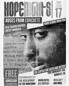 [TONIGHT] 6:30PM | Hope Nights in collaboration with Lyrical Opposition is producing a Tupac inspired artist showcase during his birthday month entitled Roses from Concrete. This event will be in celebration of Tupacs life with artists performing original work that covers many of the themes Tupac rapped about like social justice faith the struggle and more. Roses from Concrete will showcase the next generation of World Changers/Revolutionaries that are influenced by 2Pac and led by God…