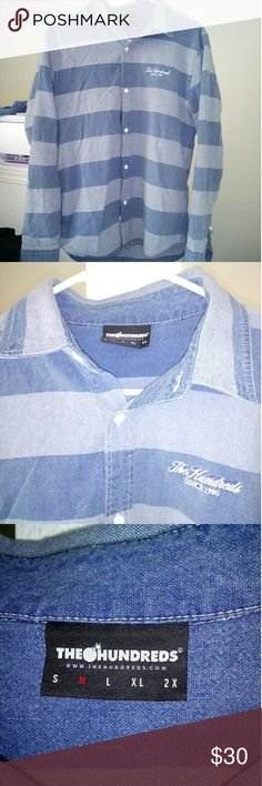 Striped button up shirt In perfect condition. Free gift with purchase. Last picture does not accurately reflect the color. Thehundreds Shirts Casual Button Down Shirts