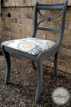 We love how this lovely vintage chair received a completely new look by Stockist The Weathered Cottage of Austin, TX. They've used Coco & Graphite Chalk Paint® decorative paint by Annie Sloan for this soft, gorgeous grey. Doesn't it go great with the new Ikat fabric?