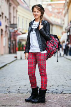 Tartan pants and backpack + leather biker jacket & hat On the streets of Zagreb