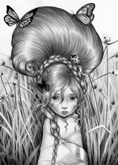 THUMBELINA. Graphite on textured paper. 2015 Available through Art at the Hall page on facebook