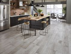 Avella Ultra Metro Concrete Oak Porcelain Tile Patio Flooring, Flooring Ideas, Big Kitchen, Kitchen Ideas, Glazed Kitchen Cabinets, Grey Wood Floors, Wood Look Tile, Concrete Tiles, House Building