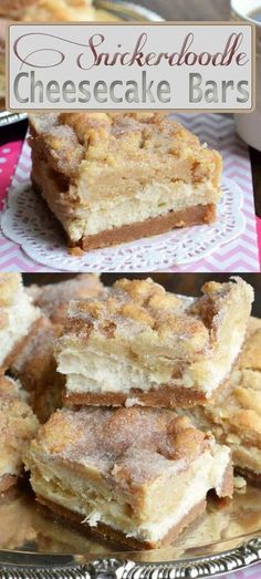 Snickerdoodle Cream Cheese Blondies Dessert Bars Recipe - the perfect answer when you can't decide between a cookie, a brownie or a piece of cheesecake. Just Desserts, Delicious Desserts, Dessert Recipes, Yummy Food, Yummy Recipes, Top Recipes, Simple Recipes, Sweet Recipes, Deserts