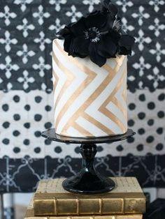 Gold, white and black chevron wedding cake #dessert #goldwedding #cakes #weddingcake #chevron