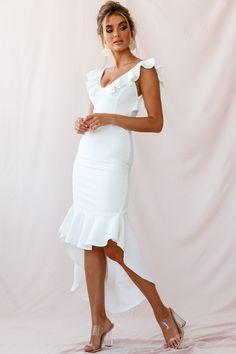 Buy the Pearl Ruffle Strap High-Low Hem Dress White only at Selfie Leslie! High Low Hem Dresses, Pearl Dress, All White, Ruffle Sleeve, Hemline, Ruffles, White Dress, Wedding Dresses, My Style