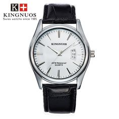 Features and specifications: Dial - Shape: Round - Movement type: Quartz - Display type: Pointer - Pointer color: Silver - Dial color: Black, white, brown, blue Band - Material: Stainless Steel/leather - Clasp type: Folding clasp - Band color: Silver/black, brown Watch - Length: approx. 240 mm - Dial diameter: approx. 40.5 mm - Dial thickness: approx. 9 mm - Weight: approx. 90 g Package : 1 x watch Mens Sport Watches, Mens Watches Leather, Luxury Watches For Men, Leather Men, Stylish Watches, Bracelet Cuir, Quartz Watch, Bracelets, Accessories