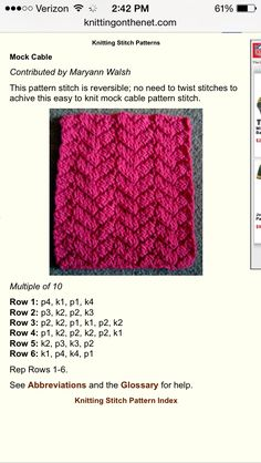 Mock cable knitting stitch