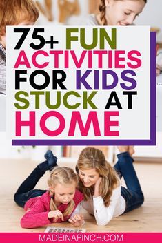 75+ kid activities you need! Kids love to be active but get bored easily. End boredom for good with these fun activities to do with kids at home. Whether you're stuck at home or practicing social distancing, these 75+ activities will encourage learning and laughs (plus download our FREE list of 225+ free social distancing activity ideas. #madeinapinch #kids #kidsactivities #boredombusters