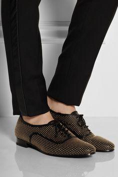 Saint Laurent|Studded leather lace-ups|NET-A-PORTER.COM