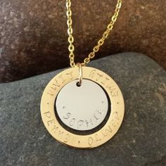 Mother's Necklace - Personalised Hand Stamped Jewellery. Gold and Silver Disk. Just beautiful! www.sewtree.com