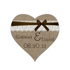 Rustic Burlap and Vintage Lace Envelope Seal Heart Stickers