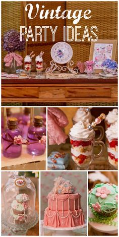 A pink birthday party with a vintage, shabby chic look, pearls and lace and a gorgeous cake and cupcakes! See more party planning ideas at CatchMyParty.com!