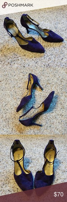 """Yves Saint Laurent - Pointy Toe T-Strap Heels Gently used 1980s vintage purple suede T-strap high heels. Adjustable ankle straps. Pointy toe rounded at the tip. Leather inner and outer sole. Tiny scuff at the back of one heel as shown on last photo.  Heel height: 3 1/8"""" Yves Saint Laurent Shoes Heels"""