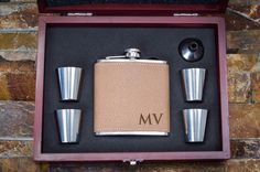 Groomsmen Gift Personalized Flask Leather by ThePersonalizedGift