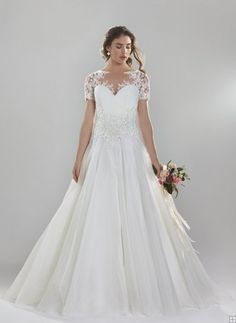 Popular Illusion Jewel Neck Lace Trimmed Bakk Gown Organza Wedding Dress with Lace Waist