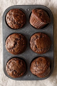 One Bowl Dark Chocolate Greek Yogurt Banana Muffins | Fork Knife Swoon | Deliciously inspired recipes for the home cook | Bloglovin'